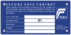 Class III safe according to EN 1143-1